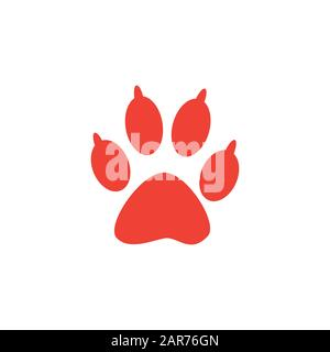 Paw Red Icon On White Background. Red Flat Style Vector Illustration. - Stock Photo