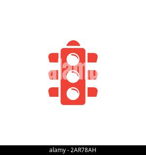 Traffic Light Signal Red Icon On White Background. Red Flat Style Vector Illustration. - Stock Photo