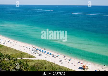 Florida Miami Beach North Beach Atlantic Ocean shore public beach sand water sunbathers