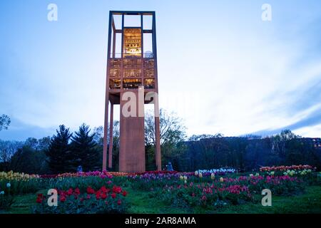 ARLINGTON, VA - APRIL 27, 2018: Netherlands Carillon monument near to Arlington National Cemetery with 50 bells on the tower during evening