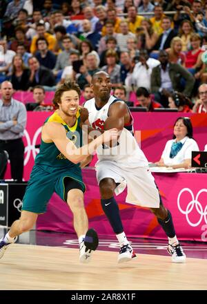 London, UK. 8 August 2012.  File photo of US Basketball star Kobe Bryant competing for Team USA against Australia during the quarterfinals of the basketball tournament at the London Olympics in 2012.  Bryant along with his 13 year old daughter, Gianna was killed in a helicopter crash in Calabasas, California on Sunday, January 26, 2019 - Stock Photo
