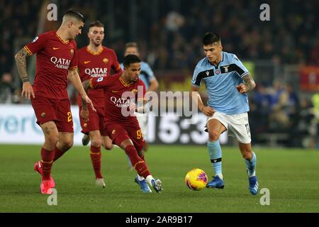 Rome, Italy. 26th Jan, 2020. Joaquin Correa (Lazio) in action during the Serie A match between AS Roma and SS Lazio at Stadio Olimpico on January 26, 2020 in Rome, Italy. AS Roma draw 1-1 with SS Lazio in the 21th round of Serie A (Photo by Giuseppe Fama/Pacific Press) Credit: Pacific Press Agency/Alamy Live News - Stock Photo