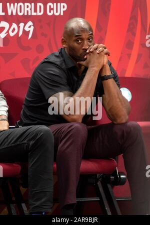Beijing, China. 15th Sep, 2019. FILE IMAGE: NEWS 26th January 2020 Kobe Bryant Dead Kobe Bryant is killed in a helicopter crash in Calabasas California USA. The World Cup Basketball Ambassador, watches the game during the Basketball World Cup Final- Argentina vs Spain in Beijing.September, 15th 2019.Alamy Live news/Jayne Russell. Credit: Jayne Russell/Alamy Live News - Stock Photo