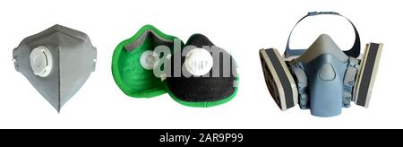 three different respirator for protect toxic atmosphere. Safety mask for pm 2.5 isolated and path on white background - Stock Photo