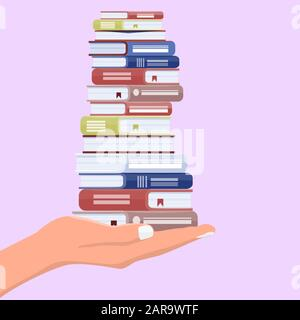 Hand with stack of books. Offer to read or learning, teaching and training concept. Vector illustration. - Stock Photo