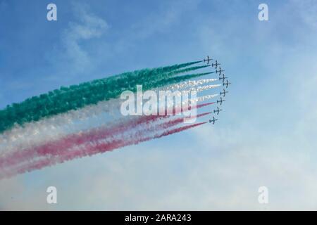 Italian Aerobatic Squadron, Frecce Tricolori, Air Show 2019, Lignano Sabbiadoro, Lignano, Adria, Friuli Venezia Giulia, Italy - Stock Photo