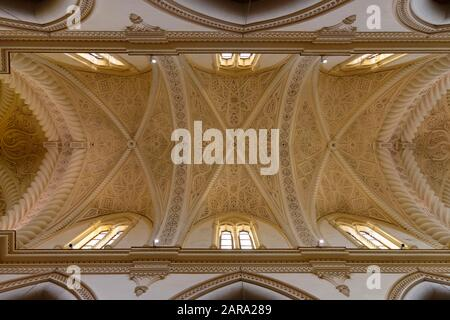 Barrel vault with stucco work, interior view, Cathedral of Naples, Duomo di Napoli, Erice, Sicily, Italy - Stock Photo