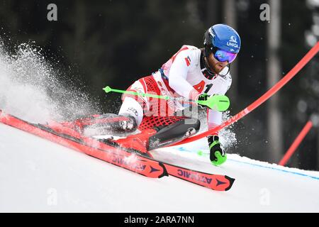 Marco SCHWARZ (AUT), action, alpine skiing, men's slalom, 80th Hahnenkamm race 2020, Kitzbuehel, Hahnenkamm, on January 26th, 2020 | usage worldwide - Stock Photo