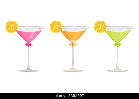 Set margarita cocktail isolated on white background.Margarita, tequila, liqueur, alcoholic cocktail in glass with lime slice in glass. Stock vector - Stock Photo