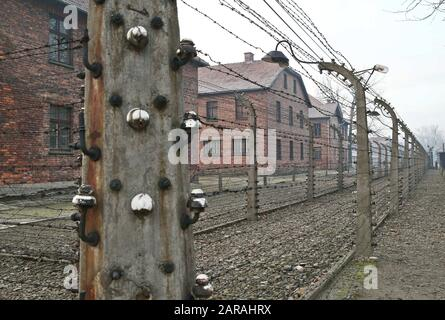 Oswiecim, Poland. 27th Jan, 2020. A view of of the former Nazi German Auschwitz II (Birkenau) death camp. 75th anniversary of Auschwitz liberation and Holocaust Remembrance Day. The biggest German Nazi concentration and extermination camp KL Auschwitz-Birkenau was liberated by the Red Army on 27 January 1945. Credit: Damian Klamka/ZUMA Wire/Alamy Live News - Stock Photo