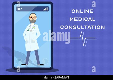 Online medical consultation service, mobile application development. Illustration of a doctor on smartphone screen with copy space - Stock Photo