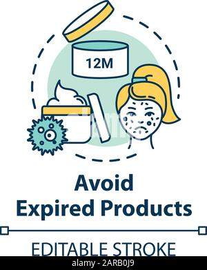 Avoid expired products, skin care concept icon. Quality cosmetic use, cream expiration date checking idea thin line illustration. Vector isolated outl - Stock Photo