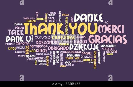 Thank you message sign. International thank you sign in many languages including English, French, German, Dutch and Polish. - Stock Photo
