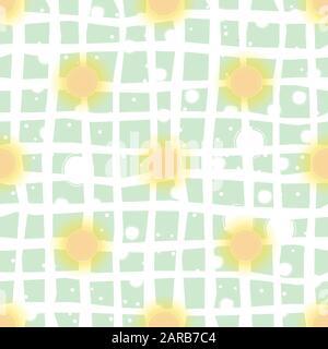 Seamless pattern with suns on dark background. Vector Illustration - Stock Photo