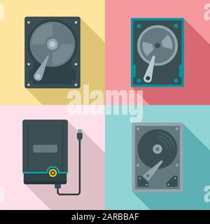 Hard disk icons set. Flat set of hard disk vector icons for web design - Stock Photo