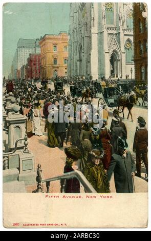 Pedestrians, cabs and a solitary motor car enliven the scene in New York's most fashionable thoroughfare      Date: 1906 - Stock Photo