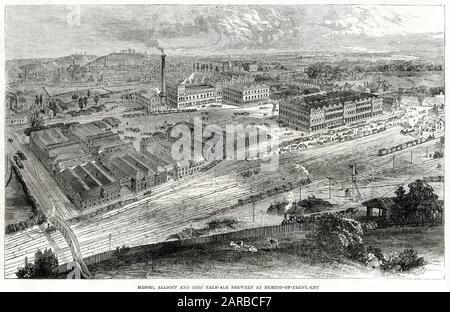 Allsopp and sons' pale-ale brewery at Burton-on-Trent in Staffordshire.     Date: 1862 - Stock Photo