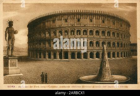 A reconstruction of the Colosseum in Rome, Italy.     Date: circa 1904 - Stock Photo