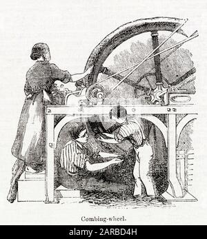 Combing wheel in a Glasgow carpet factory, operated by a woman and two children.      Date: 1843 - Stock Photo
