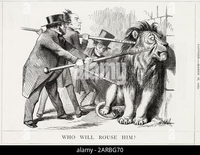 Cartoon, Who Will Rouse Him?  The British Lion, representing the British constituencies, seems apathetic towards political reform, in particular the proposed extension of the franchise to working men, despite the combined efforts of John Bright, Benjamin Disraeli and Lord John Russell, representing the two main political parties.      Date: 1859 - Stock Photo