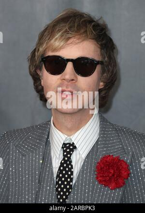 LOS ANGELES, CALIFORNIA, USA - JANUARY 26: Beck arrives at the 62nd Annual GRAMMY Awards held at Staples Center on January 26, 2020 in Los Angeles, California, United States. (Photo by Xavier Collin/Image Press Agency) - Stock Photo