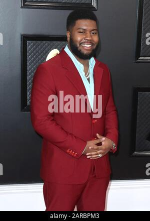 LOS ANGELES, CALIFORNIA, USA - JANUARY 26: Khalid arrives at the 62nd Annual GRAMMY Awards held at Staples Center on January 26, 2020 in Los Angeles, California, United States. (Photo by Xavier Collin/Image Press Agency) - Stock Photo