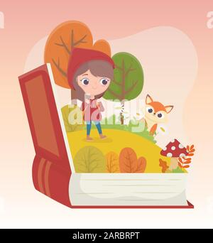little red riding hood wolf forest grass book fairy tale cartoon vector illustration - Stock Photo