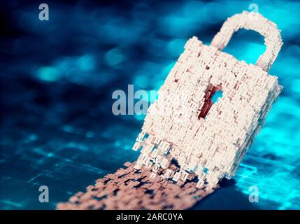Cyberspace security concept. Binary code in the shape of lock with blurred background. 3D computer generated image.
