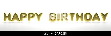Happy birthday wishes. Balloon letters gold color text flying isolated on white background, banner. 3d illustration - Stock Photo
