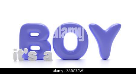 Ιit's a boy! Newborn baby boy announcement, Balloon letters blue color text isolated on white background. 3d illustration - Stock Photo