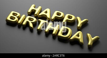 Happy birthday wishes. Balloon letters gold color text on black background. 3d illustration - Stock Photo