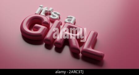 Ιit's a girl. Newborn baby girl announcement, Balloon letters pink and white color text isolated on pink background. 3d illustration - Stock Photo