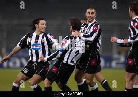 Turin Italy ,12 March  2003, 'Delle Alpi' Stadium, UEFA Champions League 2002/2003, FC Juventus- RC Deportivo la Coruna: Ciro Ferrara celebrates after the goal - Stock Photo