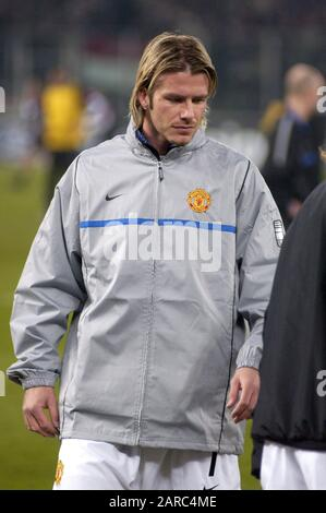 Turin Italy ,12 March  2003, 'Delle Alpi' Stadium, UEFA Champions League 2002/2003, FC Juventus- FC Manchester United: David Beckham before the match - Stock Photo
