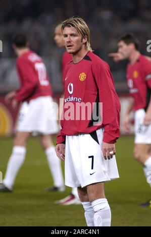 Turin Italy ,12 March  2003, 'Delle Alpi' Stadium, UEFA Champions League 2002/2003, FC Juventus- FC Manchester United: David Beckham  during the match - Stock Photo