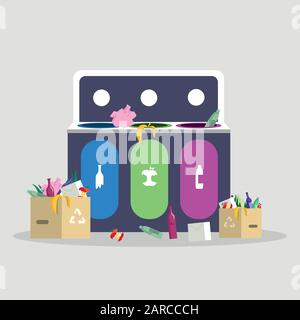 Trash sorting, separation flat vector illustration. Waste management, recycling and reducing, garbage segregation concept. Isolated cartoon trash container with plastic, glass and organic waste - Stock Photo