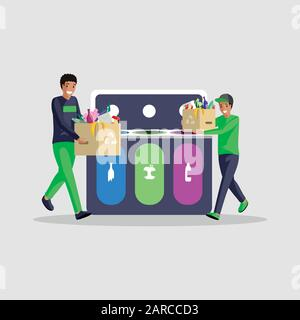 People sorting waste flat vector illustration. African american boys isolated cartoon characters separating garbage in different containers. Eco friendly lifestyle, trash recycling, waste management - Stock Photo