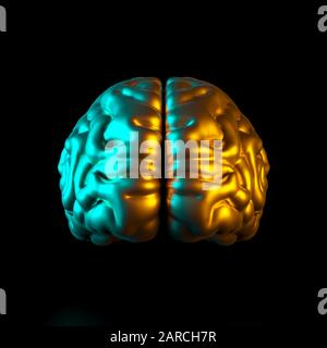 3d render image of a gold colored human brain on a black background with colored side lights. Square format no one around. Intelligence and psychology - Stock Photo