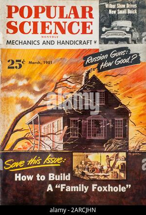 Front cover of Popular Science Monthly, March 1951 issue about building a nuclear fallout shelter during the Cold War - Stock Photo