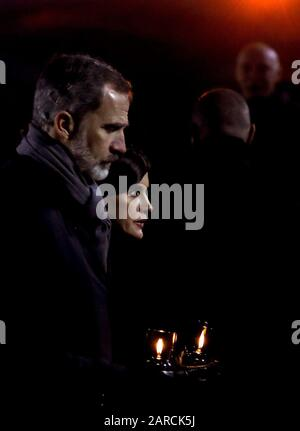 Oswiecim, Poland. 27th Jan, 2020. Spain's Queen Letizia (R) and King Felipe VI (L) attend the main commemoration ceremony at former Auschwitz II-Birkenau camp during ceremonies marking the 75th anniversary of the liberation of the former Nazi-German concentration and extermination camp KL Auschwitz-Birkenau, in Oswiecim, Poland, 27 January 2020. The biggest German Nazi death camp KL Auschwitz-Birkenau was liberated by the Soviet Red Army on 27 January 1945. The world commemorates its liberation by International Holocaust Remembrance Day annually on 27 January. EFE/ BALLESTEROS - Stock Photo