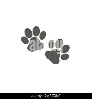 Paw prints sign isolated on white background - Stock Photo