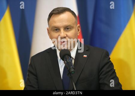 Statements by the President of the Republic of Poland Andrzej Duda and the President of Ukraine Volodymyr Zelensky for the media. 75th anniversary of Auschwitz liberation and Holocaust Remembrance Day. The biggest German Nazi concentration and extermination camp KL Auschwitz-Birkenau was liberated by the Red Army on 27 January 1945. - Stock Photo