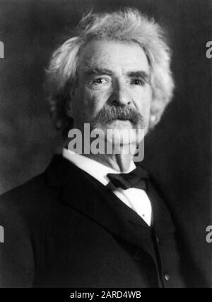 Vintage portrait photo of American writer and humourist Samuel Langhorne Clemens (1835 – 1910), better known by his pen name of Mark Twain. Photo circa 1906 by Pach Brothers. - Stock Photo