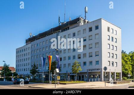 Municipal Germering, District Fürstenfeldbruck, Upper Bavaria, Germany: View on the Main Building of Town Hall, City Hall (Rathaus) - Stock Photo