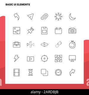 Set of Basic Ui Elements Line Icon set 25 Icons. Vector Minimalism Style Design Black Icons Set. Linear pictogram pack. - Stock Photo