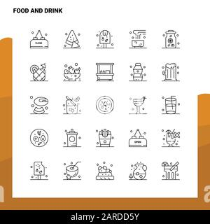 Set of Food And Drink Line Icon set 25 Icons. Vector Minimalism Style Design Black Icons Set. Linear pictogram pack. - Stock Photo