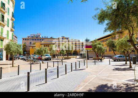 Plaza de L'Olivar, and food market building in Palma de Mallorca, Spain. Travel destination vacation concept.