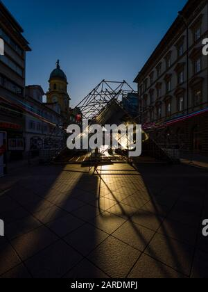 European Capital of Culture preparations before opening EPK 2020 Rijeka in Croatia morning scenery - Stock Photo