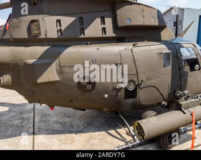 Kiowa Warrior OH-58D helicopter OH58D HRZ Croatian Air Force fuselage details detail - Stock Photo