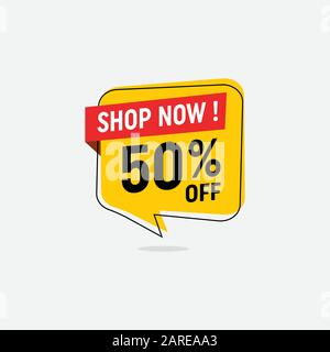 50 percent discount, Sales Vector badges for Labels, percent sale label symbols, Tags, Web Stickers, Discount origami sign banner, Sale and discount labels, Price off tag icon - Stock Photo